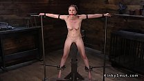 Slave sitting on wooden peak whipped