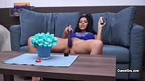 Hot pornstar Kira Queen shows her amazing body and plays with dildo