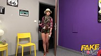 Fake Hostel Lesbian student and babe with great tits get surprise