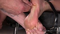 Busty blonde pussy and feet caned