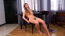 Ekaterina is so sexy as she strips down at the kitchen table