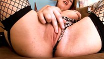Cute big-boobed Teen Bouncing her Meat Melons. Cum on XXL Natural Breasts & Fucking in Fishnet Stockings image
