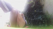 OUTDOOR SEXY GIRL! without panty in a public park, she plays with her naked pussy and her big tits صورة