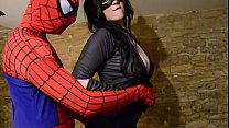 Busty Cosplay Catwoman takes spiderman web