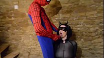 Busty Cosplay Catwoman takes spiderman web Preview