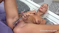 Czech Blonde Pees All Over Herself thumbnail