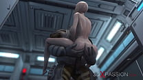 3d alien monster plays with a young woman in the Mars base camp