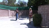 Horny Hoe Is Seducing A Black Guy Who Is Working At The Home
