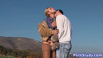Amateur eurobabe fucked in farm field image