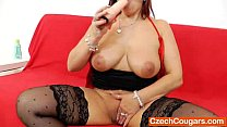 Dame redhead gapes her snatch thumbnail