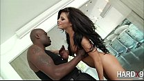 Beautiful Adriana rides Lex big black cock on the adoration seat