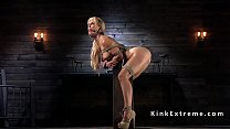 Busty Milf slave in bondage nipples clamped thumbnail