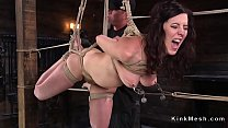 Natural huge tits slave gets crotch rope Thumbnail