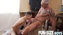 FunSizeBoys - Tiny twink fucked bareback by tall silver muscle daddy