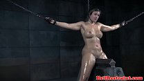 Dominated sub rides sybian and gags on dildo video