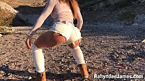 Image: Rahyndee James outdoors blowjob and facial POV