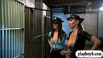 Two Sexy Ladies Foursome In The Jailcell