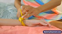 Teen tied up on the bed in threesome sex with h...