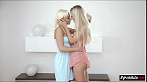 Blonde babes Naomi Nevena and Cayla Lyons eat each others pussy
