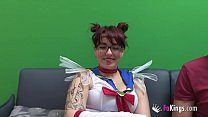Geeky chubby girls loves fucking nerds wearing her Sailor Moon costume