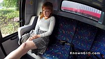 Hirsute redhead amateur teen banging in the bus thumb