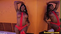 Bigtitted black tgirl in fishnets tugging