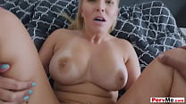 Shaved pussy big tits and a horny stepmother