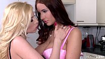 Busty lovers Donna Bell and Kyra Hot play with whip cream on their big tits