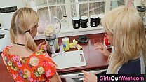 Slim blonde lesbian babes lick each other in the kitchen thumbnail