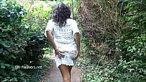 Ebony babe Mels teasing public flashing and outdoor masturbation of black amateu