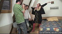 Hot threesome with nasty old whore video