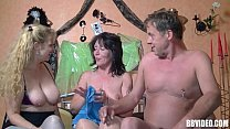 Stockinged german whore fucked in threesome