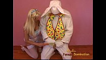 Stacked blonde filly reenacts her fantasy with a dude wearing a costume thumbnail