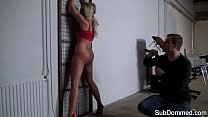 Cute submissive caged and flogged