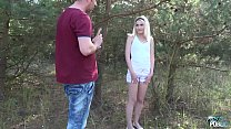 Petite Teen Blonde Hardcore sex in forest with ...
