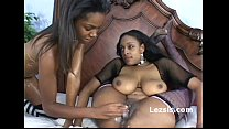 Thick busty black lesbian in fishnets gets her pussy fucked with melted candel