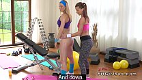 Fitness lesbian babes toying in the gym