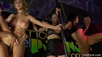 Babes pissing and fucking at sex expo