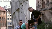 A cute teen girl fucked by a famous statue in a threesome orgy
