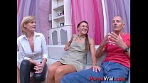 Two girls and one boy violent orgasm!! French a... thumb
