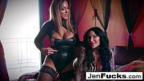 Great lesbian MILF action with toys and two pairs of giant titties!