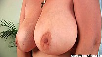 Hairy grandma with big tits has solo sex with a dildo pornhub video