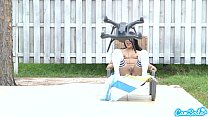 lesbian teen threesome play tug a war with a drone pulling ping balls out of the thumbnail