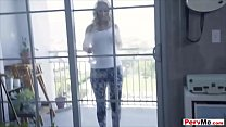 My busty stepmom wiping our windows with her hu...