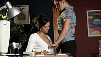 Two office ladies Sultry Assistants having lesb...