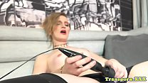 Solo shemale toying her cock and balls />                             <span class=