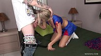 petite blond cheerleader gets jizzed inside