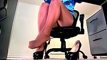 Sexy sheer pantyhose legs and high heel dangle preview image