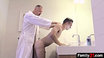 In the privacy of bathroom, horny stepdaddy decided to teach his stepson how to feel a dick in ass!