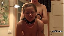 Teen Lucy in bondage is teased by horny guy